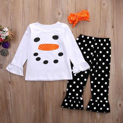 Toddler Kids Girls Christmas Snowman Olaf Tops Dot Pants Outfits Set Clothes 7