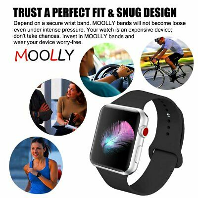 for Apple Watch iWatch Series 5 3 4 38/40/42/44mm Soft SILICONE Sport Strap Band 2