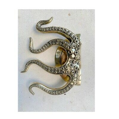 """OCTOPUS Solid 100% Brass hollow hand POLISHED Door PULL HANDLE 9"""" high aged B 2"""