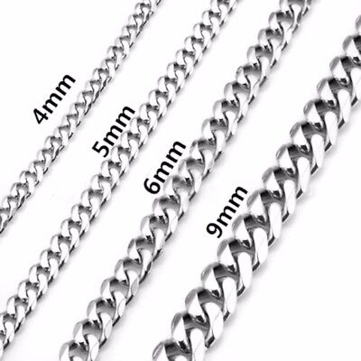 2-9mm Men Womens 316L Stainless Steel Silver Twist Curb Link Chain Necklace 7