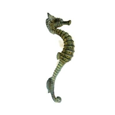 """small SEAHORSE solid brass door AGED GREEN old style house PULL handle 10"""" B 5"""