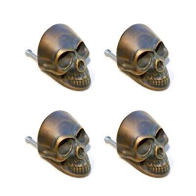 4 medium Skull hardware cabinet Drawer 4cm Gothic Finger Pull Solid age Brass B 4