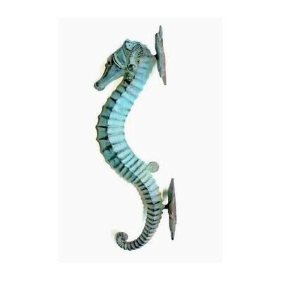 """large aged green SEAHORSE solid brass door old style 13"""" PULL handle seaside B 12"""