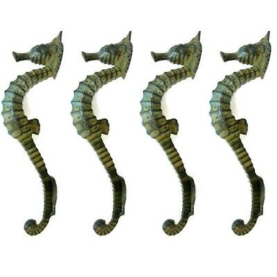 """4 small SEAHORSE PULL handle 27cm brass door aged GREEN old style house  10"""" B 10"""
