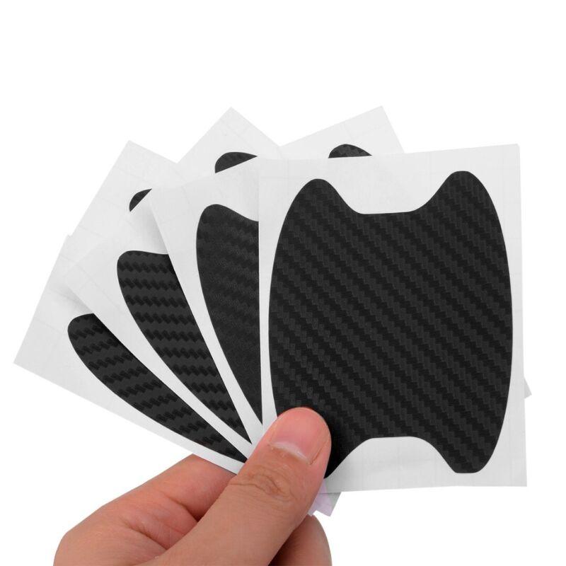 4pcs Carbon Fiber Style Car Door Handle Anti-Scratch Protective Film Stickers RS