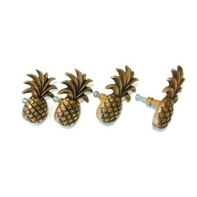 4 small Pineapple handles aged solid Brass PULL knobs kitchens antiques 6cm B 2