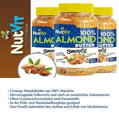 NutVit 100% Almond Butter Crunchy - 500g/2x500g Mandelbutter, Nussbutter, Mandel