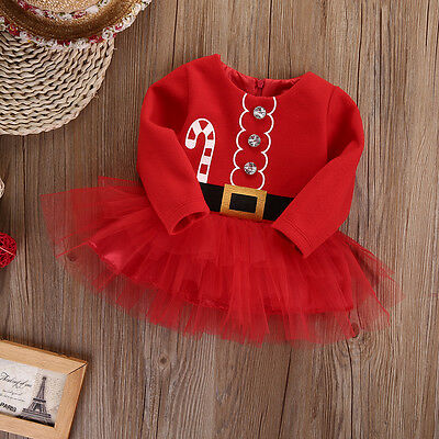 UK Stock Kids Baby Girl Clothes XMAS Santa Claus Party Tulle Tutu Dress Outfits 2