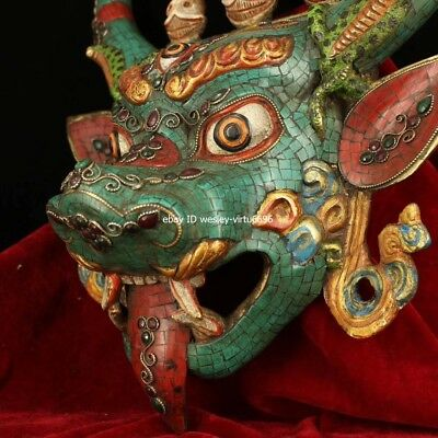 Copper Inlaid Coral Turquoise Gem Ox Oxen Cow Bull Cattle Head Mask Masks Statue 6