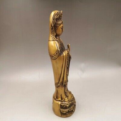 """13.3"""" Chinese Antique Old copper to create wealth lucky Guanyin Home decoration 3"""