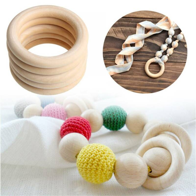 10/20Pcs Wood Rings Round 55-65mm Unfinished Wooden Rings DIY Teething Ring OZ 7