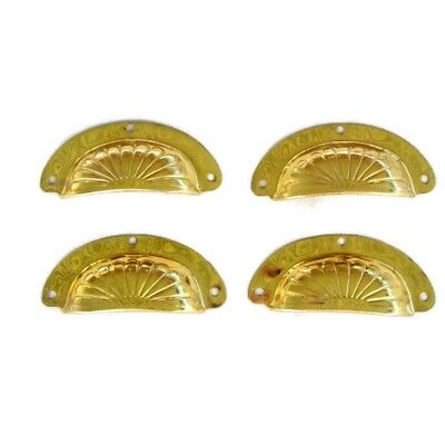 "8 shell handles PULL polished Brass PULL  knob kitchen  pressed 4"" screws B 10"