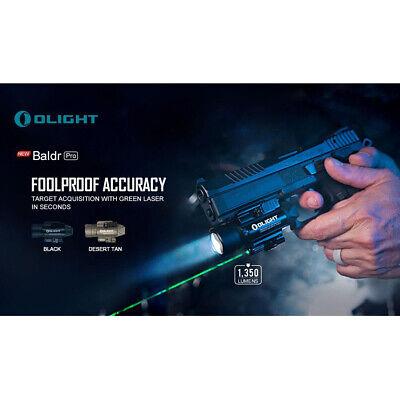 Olight Baldr Pro 1350 Lumen Pistol Flashlight with Green Laser Sight (Tan) 2