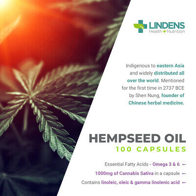 Hemp Seed (hempseed) Oil 1000mg healthy hair, skin & brain (100 capsules) [3725] 3