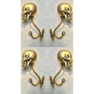 """4 Large SKULL HOOKS Polished hollow real Brass old style day the dead 6 """"long B 2"""