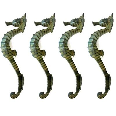"""4 small SEAHORSE PULL handle 27cm brass door aged GREEN old style house  10"""" B 2"""