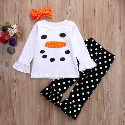 Toddler Kids Girls Christmas Snowman Olaf Tops Dot Pants Outfits Set Clothes 6