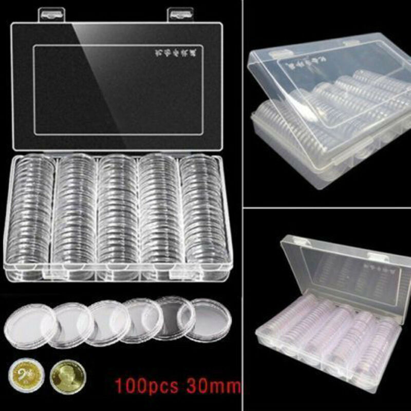 100Pcs 30mm Coin Cases Capsules Holder Applied Clear Plastic Round Storage Boxes 4