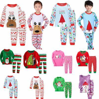 1-7YS Boys Girls Kids Christmas Xmas Santa PJs Pyjamas Outfit Long Cotton PJS UK 4