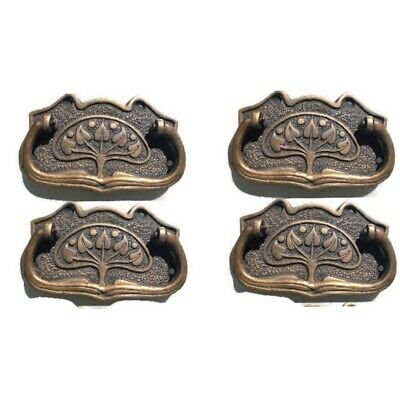 6 medium DECO cabinet handles solid brass furniture vintage age old style 95mm B 10