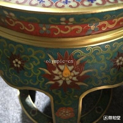 bronze gold copper padding thread weaving enamel cloisonne round table and stool 11