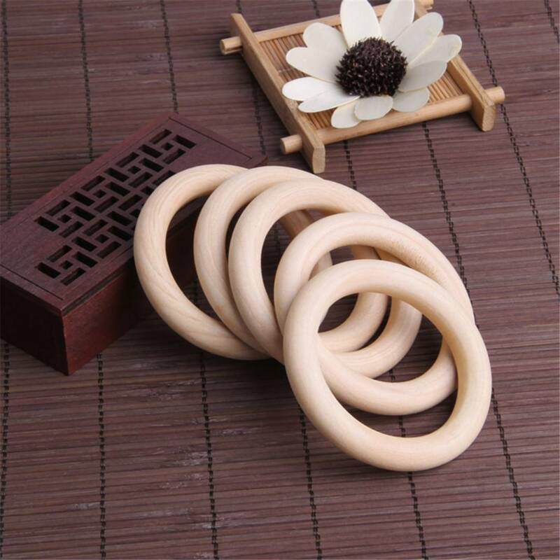 10/20Pcs Wood Rings Round 55-65mm Unfinished Wooden Rings DIY Teething Ring OZ 4
