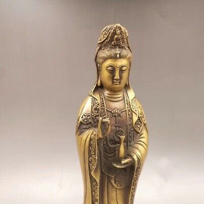 """13.3"""" Chinese Antique Old copper to create wealth lucky Guanyin Home decoration 5"""