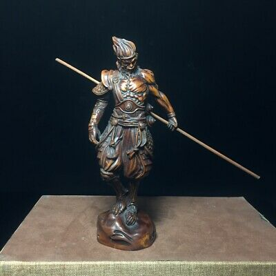 Collectable China Old Boxwood Hand-Carved Fighting Fo Moral Auspicious Statue 8