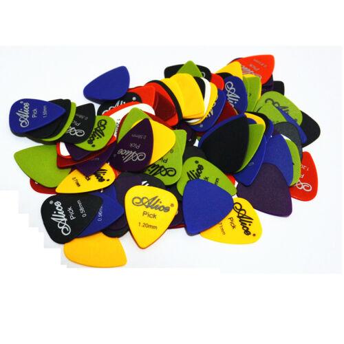 100x ALICE Guitar Picks Bulk Coloured Celluloid Plectrums Standard Mixed Gauges 3