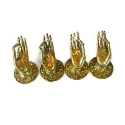 """4 polished tiny Pull handle hands buddha brass door old style knob hook 1.1/2"""" B 10"""