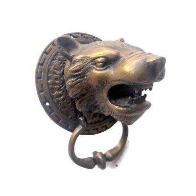 LION TIGER head old heavy front Door Knocker SOLID BRASS vintage antique style 2