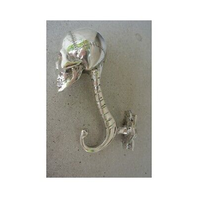 "2 SKULL head 5"" long WALL HOOK heavy BRASS silver 13cm long  SCREW wall spine B 8"