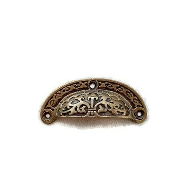 4 engraved shell shape pulls handles heavy solid brass old style drawer 9 cm B 9