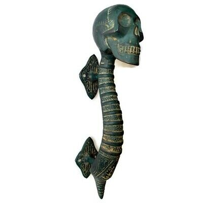 2 Small SKULL handle DOOR PULL aged GREEN patina solid BRASS old style 21cm B 7