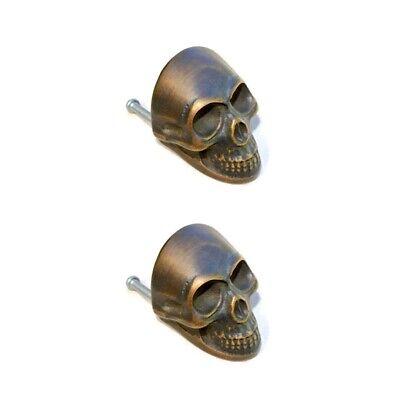 4 medium Skull hardware cabinet Drawer 4cm Gothic Finger Pull Solid age Brass B 3