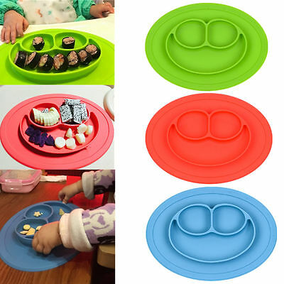 One-piece Silicone Mat Baby Kid Table Food Dish Suction Tray Placemat Plate Bowl 5