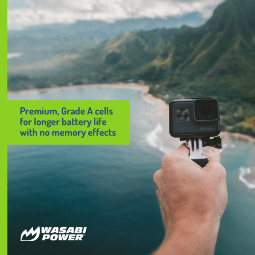 Wasabi Power Battery (2-Pack) and Dual Charger for GoPro HERO7 Black, HERO6 3