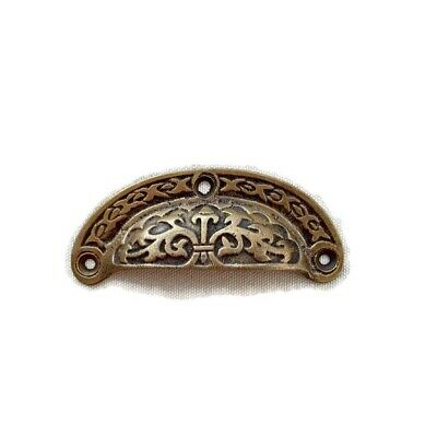 4 engraved shell shape pulls handles heavy solid brass old style drawer 9 cm B 5