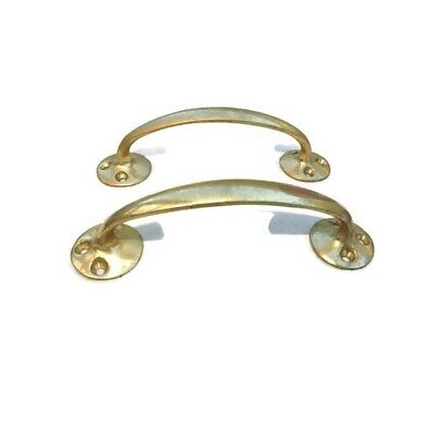 """4 polished old style pulls handles pair heavy brass vintage cupboard doors 5"""" D 6"""
