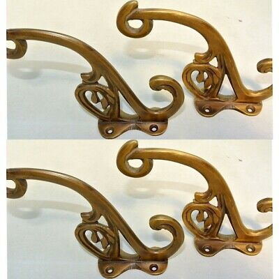"""4 old ook COAT HOOKS FLOWER door solid brass furniture age old style 4"""" B 9"""