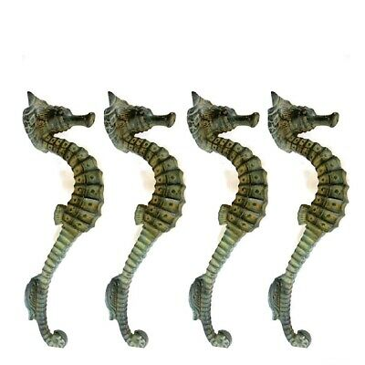 """4 small SEAHORSE PULL handle 27cm brass door aged GREEN old style house  10"""" B 11"""