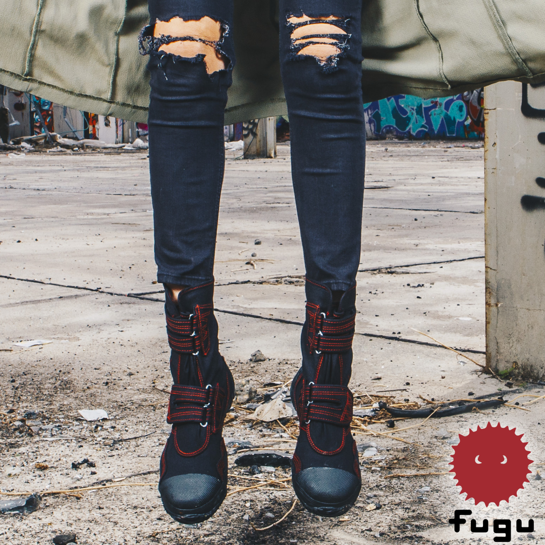8bf128bfb56 BLACK RED FUGU Sa-Me Unisex Japanese Shoes & Boots. Perfect Burning Man  Shoes