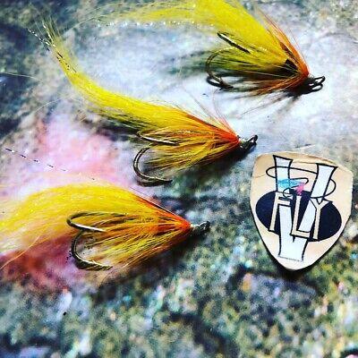3 V Fly Size 11 SALAR  Yellow Cascade Flamethrower Double Salmon Flies