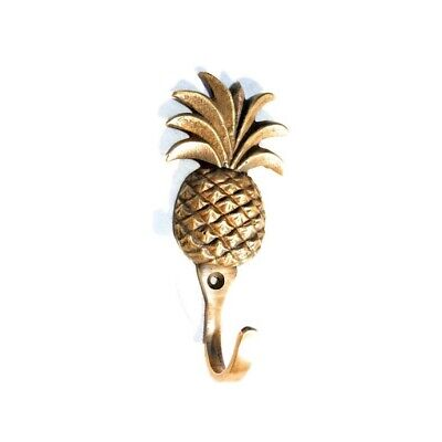 """4 small PINEAPPLE BRASS HOOK COAT WALL MOUNTED HANG TROPICAL old style hook 4"""" B 11"""