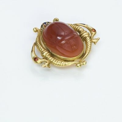 Antique Egyptian Revival Gold Carnelian Enamel Scarab Beetle Brooch Pendant 2