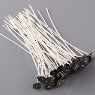 50 Pcs 15cm Kerze Dochte Baumwolle Kern gewachst Docht mit Metall Erhalter DIY 6