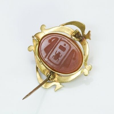 Antique Egyptian Revival Gold Carnelian Enamel Scarab Beetle Brooch Pendant 4