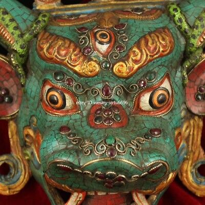 Copper Inlaid Coral Turquoise Gem Ox Oxen Cow Bull Cattle Head Mask Masks Statue 3