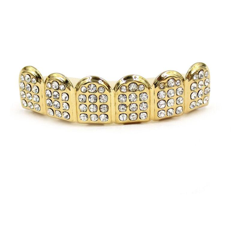 Gold Plated Rhinestone Diamond Tooth Grillz Teeth Cap Grill Hip Hop Party AU 2