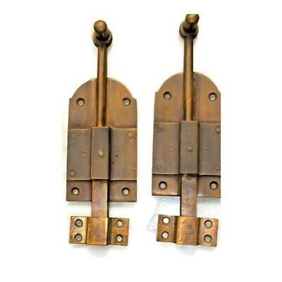 "4 small BOLT old vintage style doors furniture heavy brass flush slide 6"" bolts 12"
